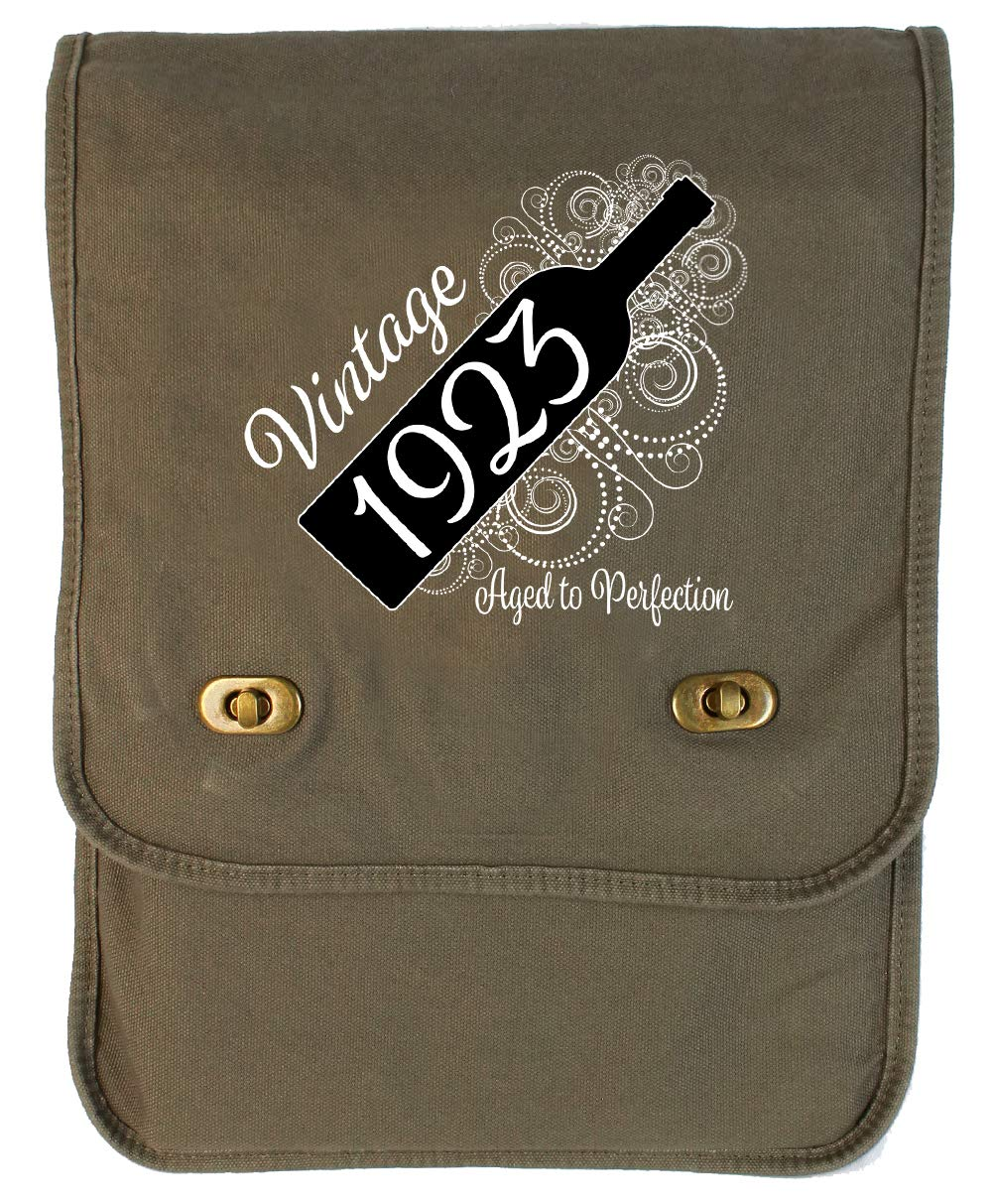Aged Like a Fine Wine Grey Brushed Canvas Messenger Bag Tenacitee Born in 1923
