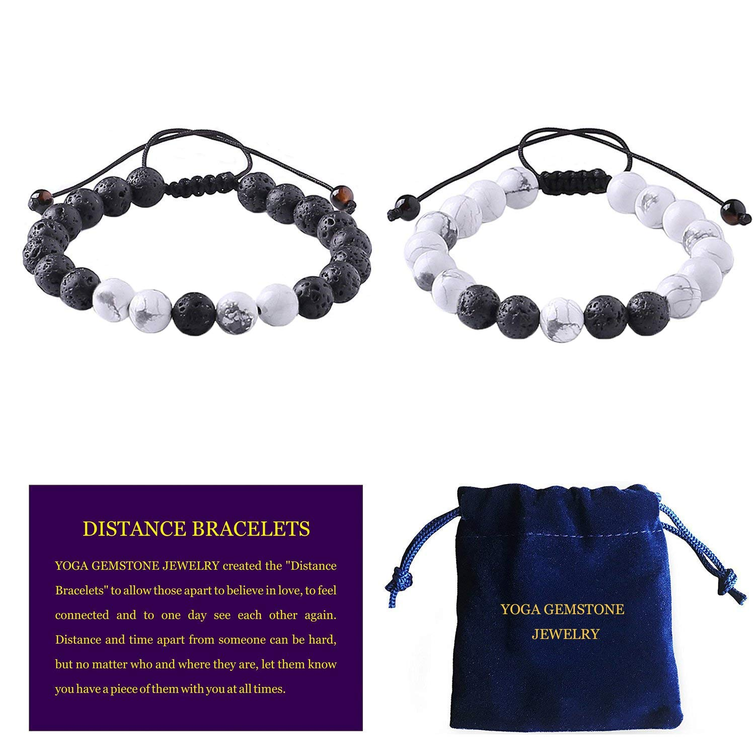 YOGA GEMSTONE JEWELRY Distance Bracelets With Jewelry Bag & Meaning Card | Adjustable Size | Friendship Relationship Couples His Hers | Black Agate Onyx White Howlite Bracelet YG-CP