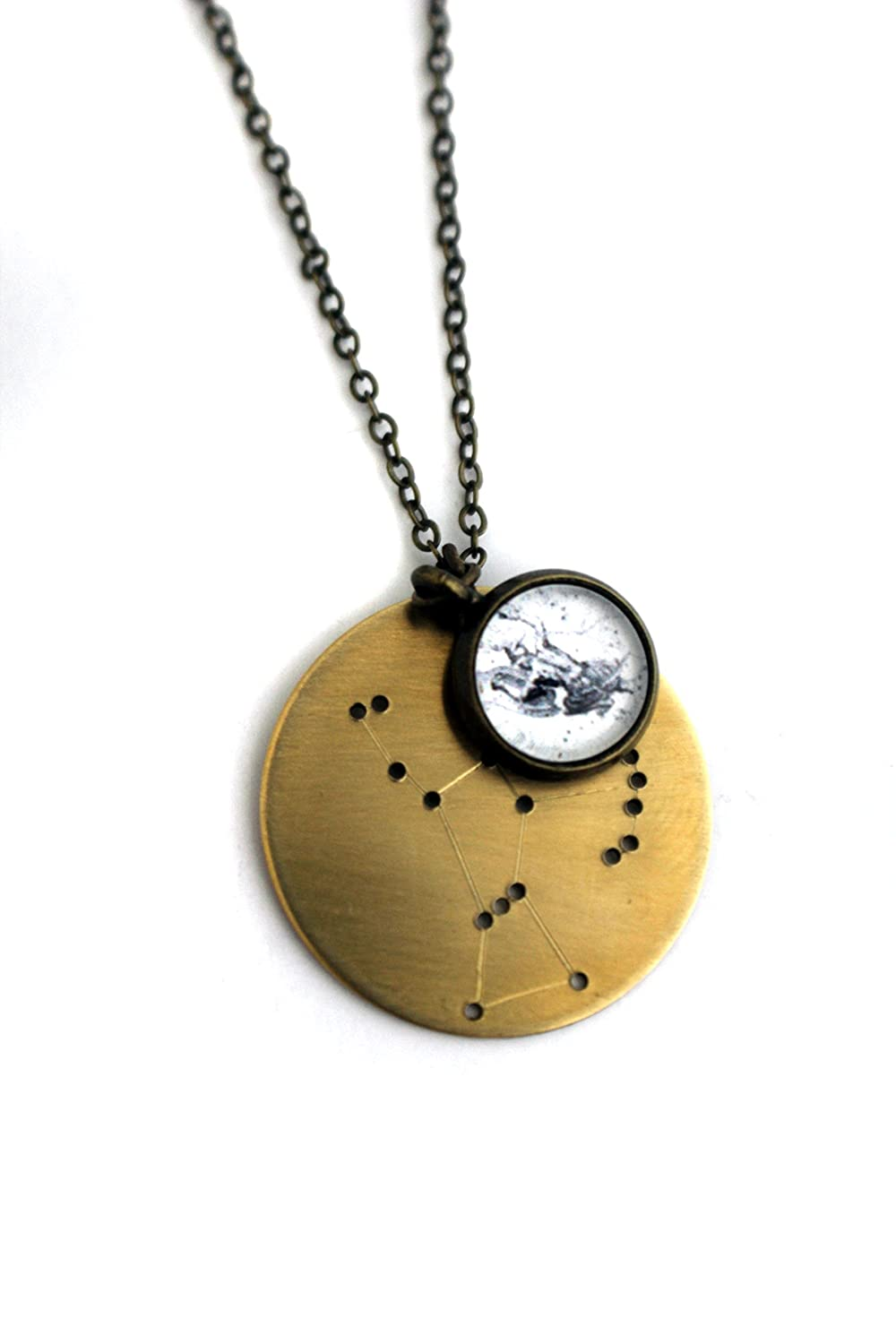 Amazon zodiac constellation necklace pendant silver or gold amazon zodiac constellation necklace pendant silver or gold brass gold tone aquarius jewelry aloadofball