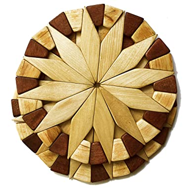Natural Wood Trivets For Hot Dishes - 2 Eco-friendly, Sturdy and Durable 7'' Kitchen Hot Pads. Handmade Festive Design Table Decor - Perfect Kitchen Gifts Idea.