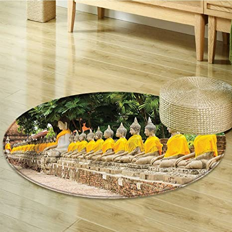Amazon.com: Round Area Rug Yoga of Aligned Statues in ...