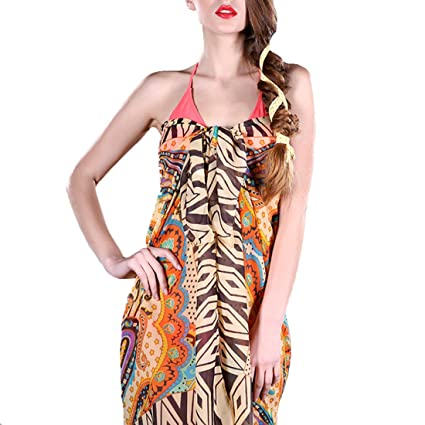 584576b02f Image Unavailable. Image not available for. Color: LerBen Women Sexy Summer  Swimwear Sarong Dress Wrap Beach Cover Up Scarf