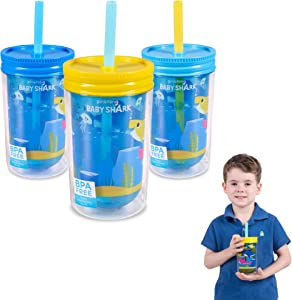 Franco Kids Pack of 3 Reusable Insulated Double Wall Tumbler Drinking Cups with Straws and Lids, 12-Ounce, Baby Shark