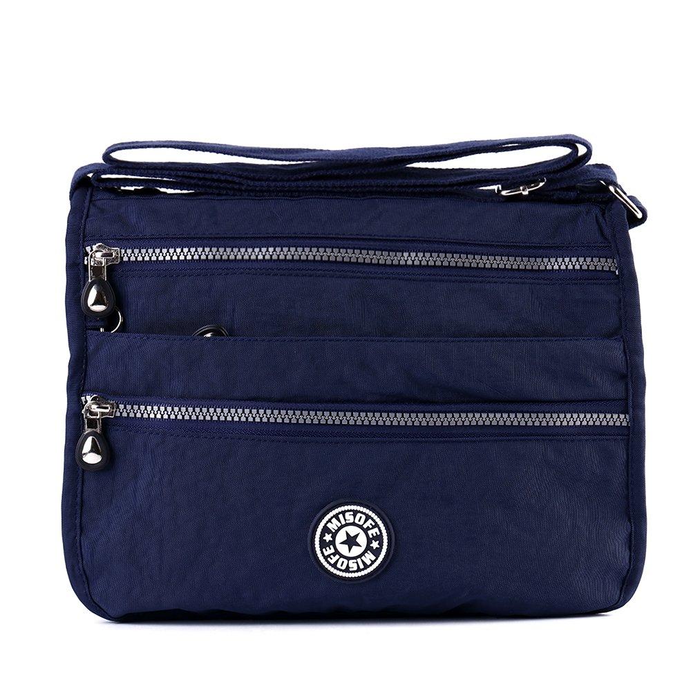 Bolso de mensajero estilo bandolera, para Mujer, estilo Casual, de nailon, con varios bolsillos, bolso de mano de viaje color Azul talla M MS-201708