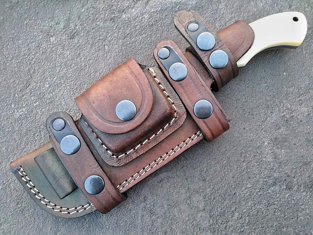 Ottoza Custom Handmade Damascus Tracker Knife with Bone Handle - Survival Knife - Camping Knife - Damascus Steel Knife - Damascus Hunting Knife with Sheath Horizontal Scout Knife No:115