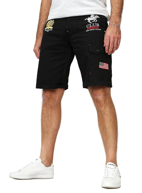 Geographical Norway Papillon - Bermudas para hombre, con detalles bordados, pantalón corto