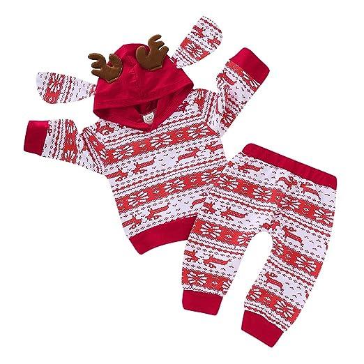 b2eab1cc8 Amazon.com: Toddler Baby Boy Girl Snowflake Hoodie Outfits Unisex Baby  Christmas Deer Hoodies Sweatshirts+Legging Pant Clothes Set: Clothing