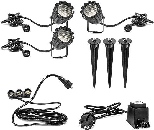 CLGarden KNGS3 - Juego de focos LED para jardín 12V, con estaca, para exteriores: Amazon.es: Iluminación
