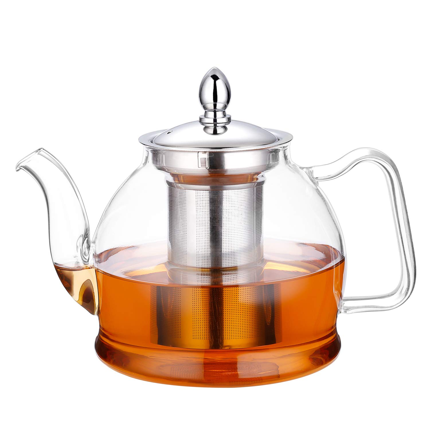 Hiware 1000ml Glass Teapot with Removable Infuser, Stovetop Safe Tea Kettle, Blooming and Loose Leaf Tea Maker Set by Hiware