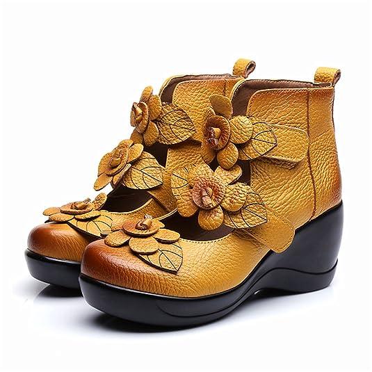 Amazon.com | CUNZHAI Women's Unique Handmade Leather Casual Travel Soft  Bottom Boot | Ankle & Bootie