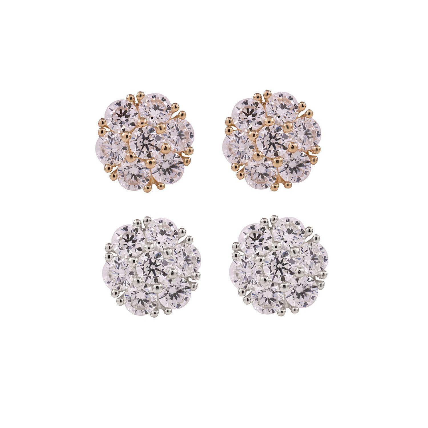 BallucciToosi Cluster Earrings -14k Real Solid White Yellow Gold - Cubic Zirconia Flower Earring Polished