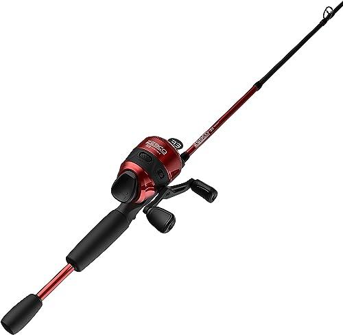 Zebco 33 Custom-Z Spincast Reel and 2-Piece Fishing Rod Combo, Split-Grip EVA Rod Handle, Quickset Anti-Reverse Fishing Reel with Bite Alert, Red