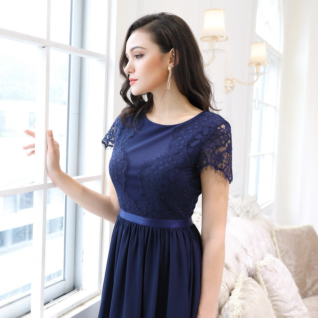 81c27a693505 Knitee Robe Année 50 Rétro Vntage Robe de soirée Femme - Bleu Marine -  Taille XX-Large  Amazon.fr  Vêtements et accessoires