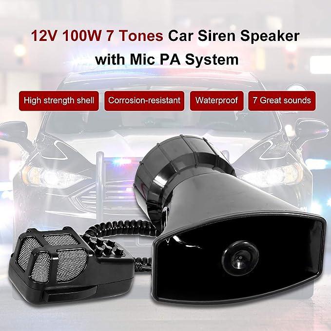 Altoparlanti Per Auto,Tickas Dc 12V 3 Tone Sounds Altoparlante Sicurezza Avvertenza Sirena Horn