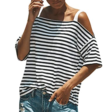 e03e1b76 Amazon.com: GOVOW Off Shoulder Sweaters for Women Pink Short Sleeve Striped Loose  Tops Casual Blouse T Shirt: Clothing