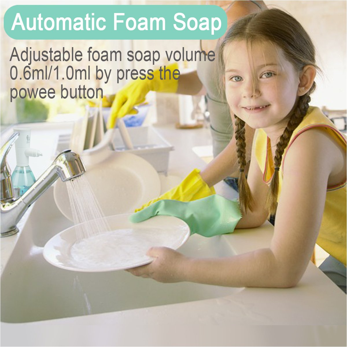Makife Foaming Soap Dispenser Touchless Automatic Soap Dispenser 500Ml Adjustable Foam for Kitchen Bathroom