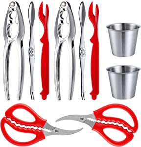 2 Seafood Tools Set - 2 Seafood Scissors, 2 Lobster Crackers, 2 Seafood Forks and 2 Butter Cups, 2 Red Lobster Leg knife
