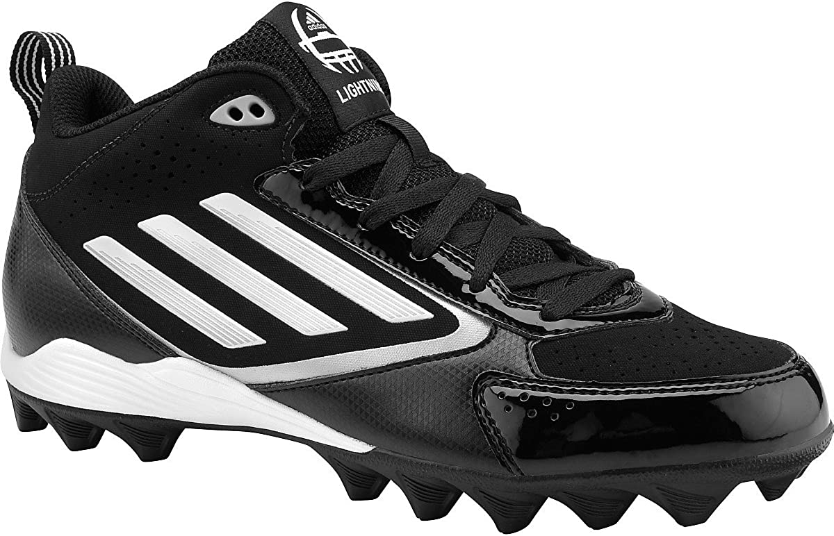 Black|White|Platinum /  Adidas Mens Lightning Md Mid Molded Football Cleats
