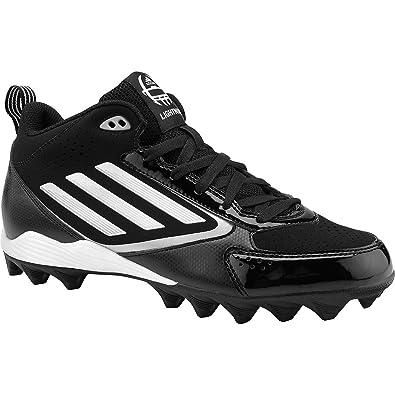 online retailer eb808 c382b adidas Mens Lightning Md Mid Molded Football Cleats, BlackWhitePlatinum,  Size