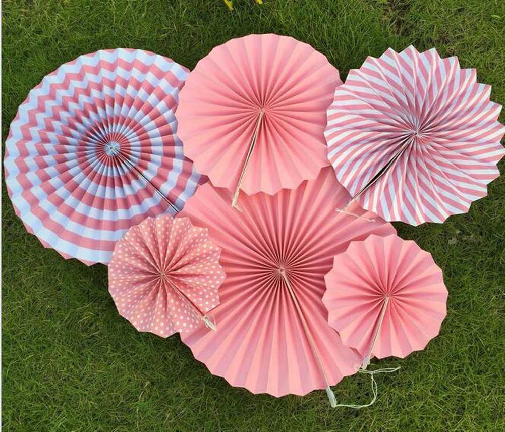"6-Pack Mixed 8"" 12"" 16"" Fiesta Pink Hanging Paper Fan Flower Ball Wedding Birthday Shower Party Decoration DreammadeStudio"