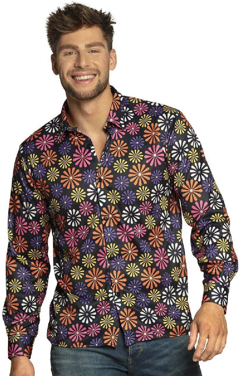 Boland- Hemd Flower Power para Hombre, Camiseta, Adultos, Flores, Camisa Hawaiana, Hippie, años 70, Fiesta temática, Carnaval, Move, Disfraz, Multicolor, large (44533): Amazon.es: Juguetes y juegos