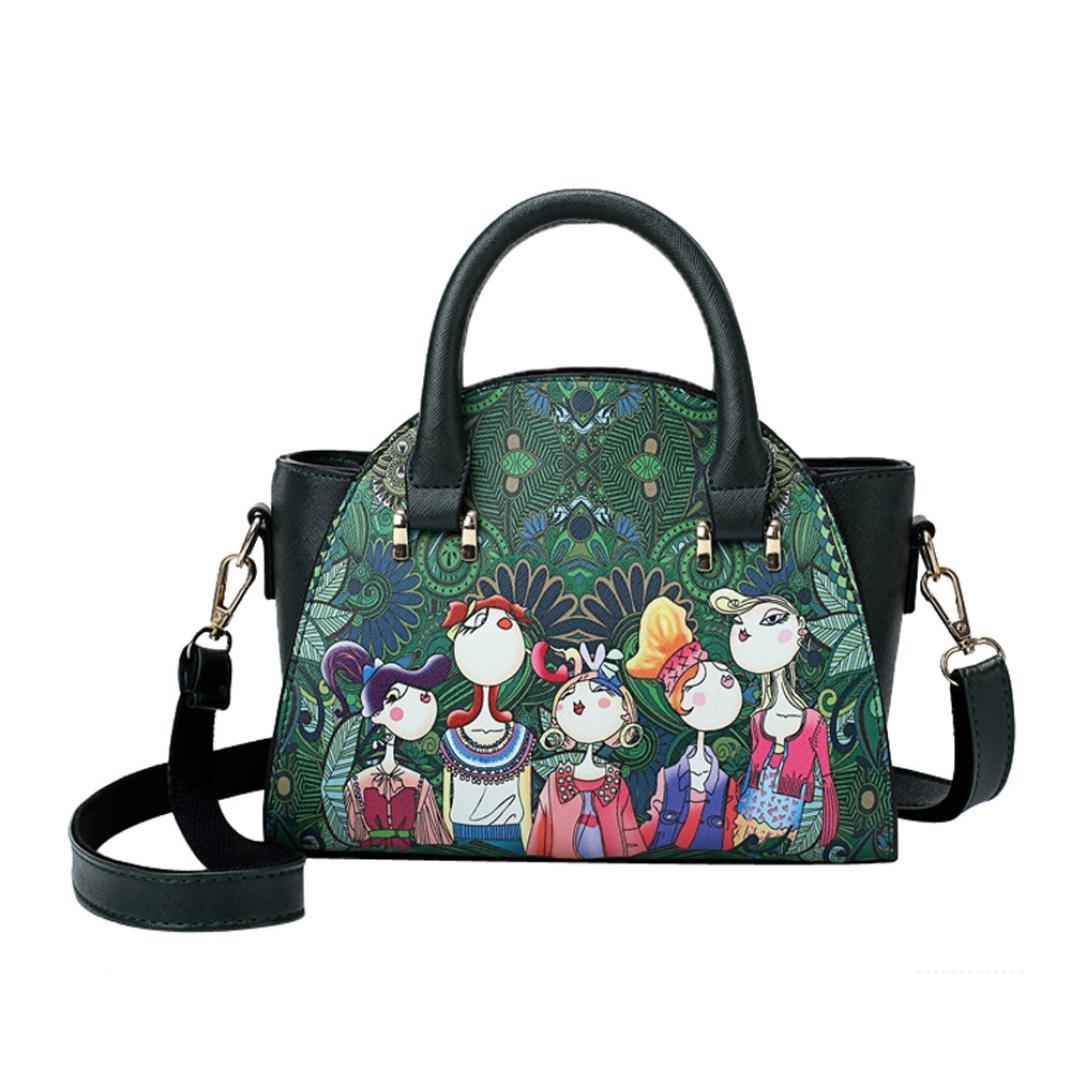 SanCanSn Crossbody Bags, Women Forest Girls Pattern Printing Single Shoulder Bag Handle Zipper Handbag (1PC, Green) by SanCanSn (Image #1)