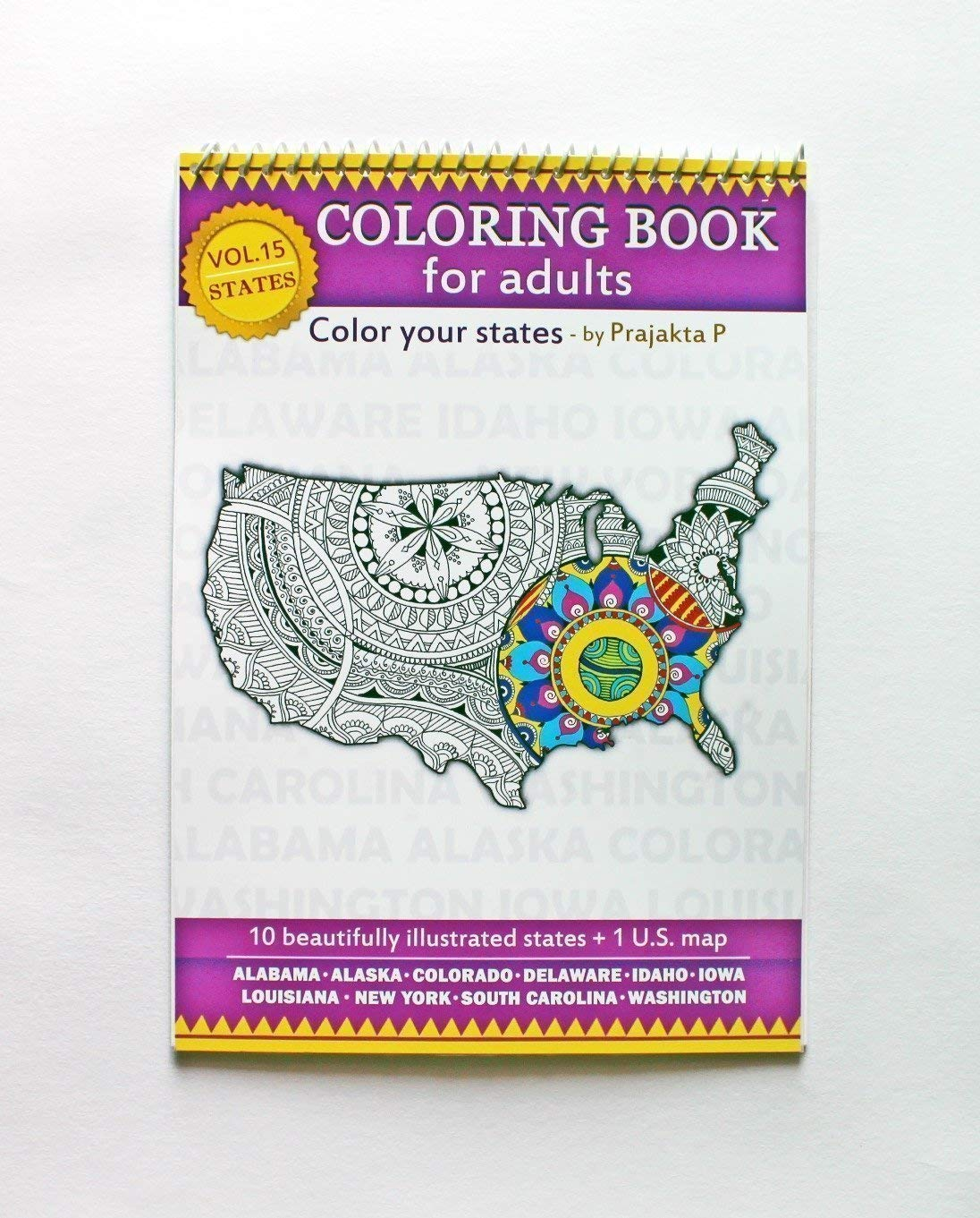 Volume 15 - USA state maps coloring book for adults, stress relieving patterns for all, spiral bound Patriotic coloring gifts