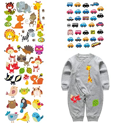 4ac6fba6f5f0 ARTEM 4 Set Patches for Kids Clothes Washable Heat Transfer Iron Stickers  Appliques Lovely Cartoon Animal Car Patch DIY Baby T-Shirt,Dress