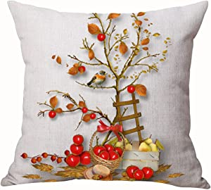 Autumn Happy Fall Y'all Harvest Pumpkin Maple Fall Leaves Apple Pear Bird Tree Cotton Linen Throw Pillow Cover Cushion Case Home Chair Office Decorative Square 18 X 18 inches