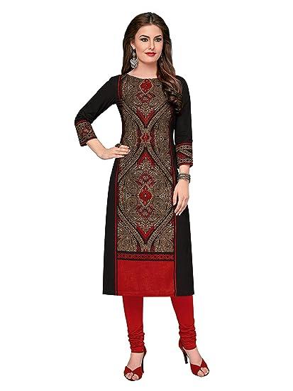 c7119664c96ad Ishin Cotton Black Printed Women Unstitched Kurti Kurta Fabric (Only  Kurta Top Fabric