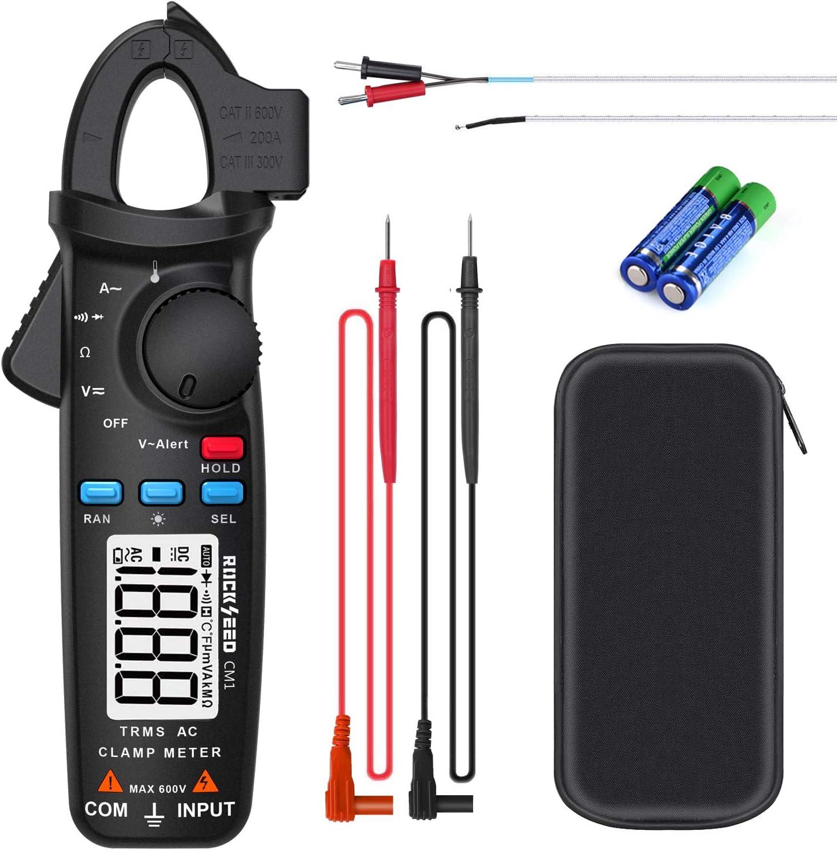clamp meter RockSeed TRMS Zangenmessger/ät mit NCV AC//DC-Strom und Kontinuit/ät; Kapazit/ätstemperatur Auto-Ranging Digitales Multimeter Spannung Spannungspr/üfer Widerstand