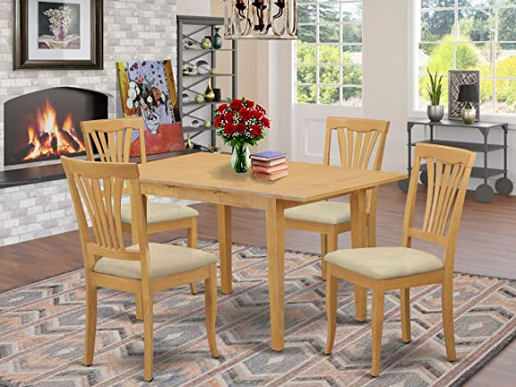 East West Furniture NOAV5-OAK-C 5-Piece Dining Room Set 4 Dining Chairs and Kitchen Table Rectangular Table Top Slatted Back and Linen Fabric Chair Seat Oak Finish