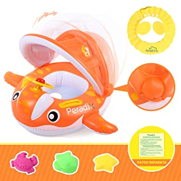 Peradix Flotadora para bebés 6meses-3 Años Barco Inflable Flotador con Sombrero para el Sol