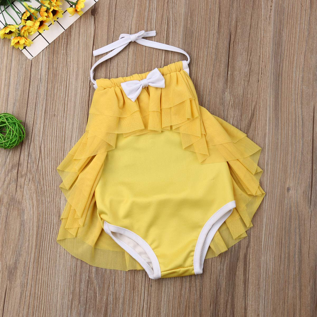 Toddler Kids Baby Girls Halter Backless Swimsuit Ruffle Mesh Bikini Bathing Suit