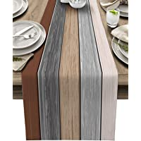 Vandarllin Farmhouse Cotton Linen Table Runner Dresser Scarf Extra Long 108 inches- Retro Rustic Barn Wood Texture Ombre…