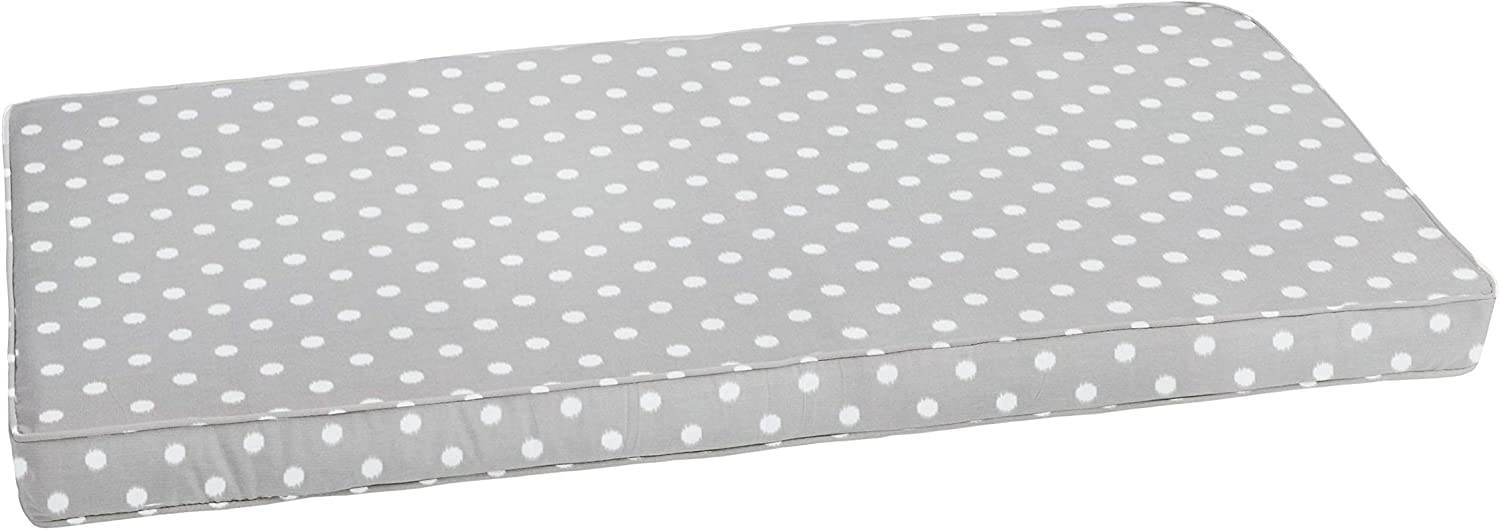 Mozaic AZCS2233 Indoor or Outdoor Bench Cushion with Corded Edges and Tie Backs, 48 in W x 19 in D, grey