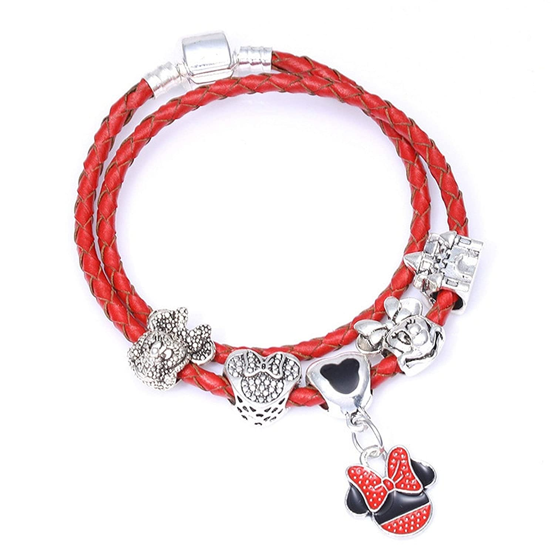 Mickey Argent 925 Castle Heart /& Pendant Coquelicot et Coccinelle Bracelet Minnie
