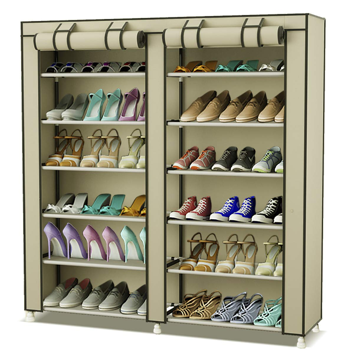 8b474cc735b0 TXT&BAZ 36-Pairs Portable Shoe Rack Double Row with Nonwoven Fabric Cover  (7-Tiers Beige)