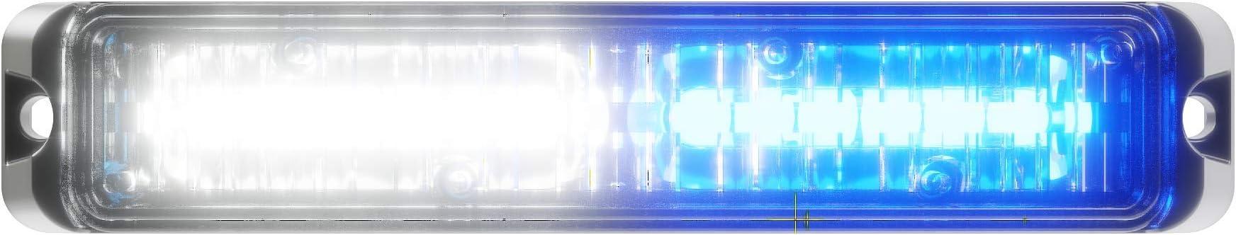 Blue//White 12 LED Volunteer Firefighter POV Vehicle Truck LED Hideaway Surface Mount Strobe Warning Light Abrams SAE Class-1 Blaster 120 36W