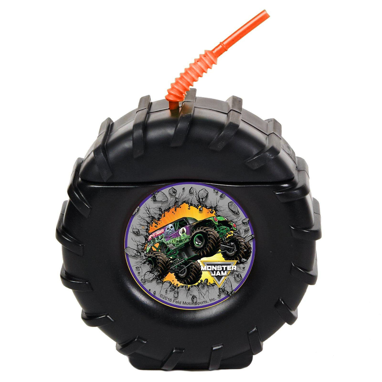 Monster Jam Childrens Birthday Party Supplies - Truck Tire Plastic Sippy Cup with Straw (8)