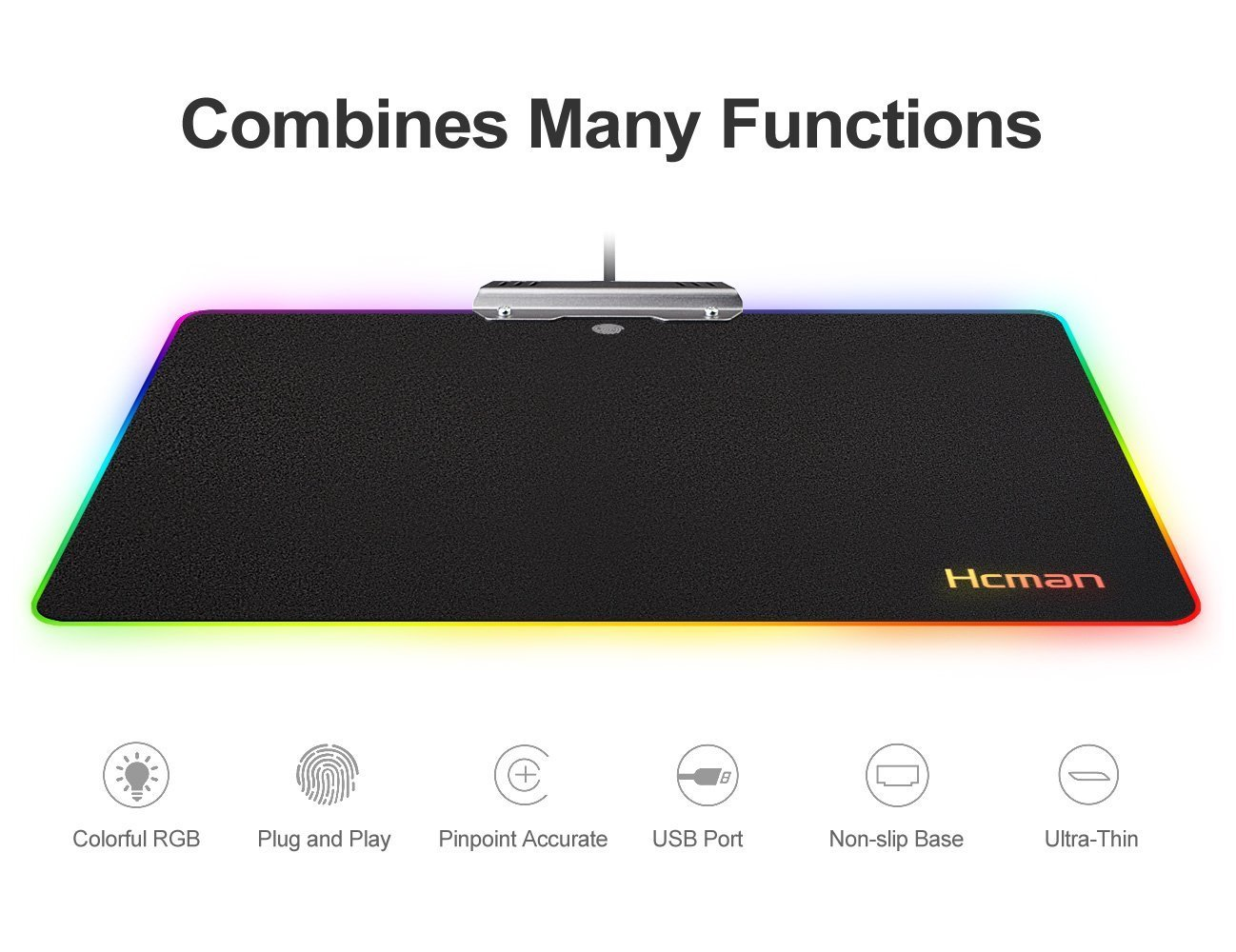 LED RGB Gaming Mouse Pad - Hcman Comfortable Lighting Hard USB Wired Colorful Waterproof Mice Mat for Computer PC & Mac Gamers (Black)