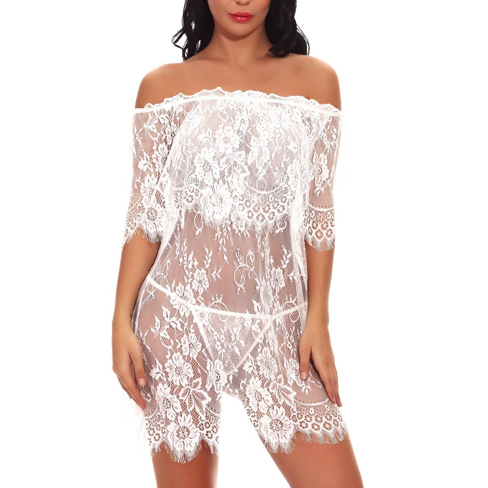 Women Red Sexy Nightgown Off-Shouder   Ladies Sheer-Through Lace Exotic Lingerie Babydoll By Wesracia(White,M)