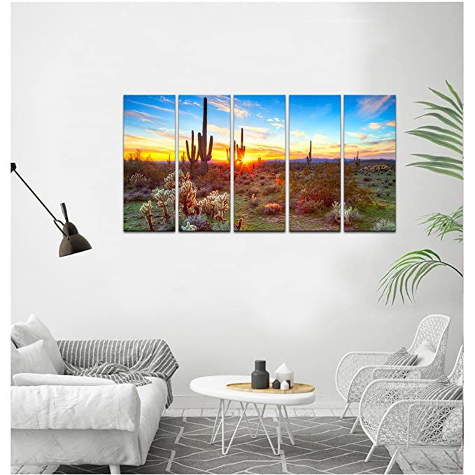 Painting of North American Sonoran Desert at Sunset