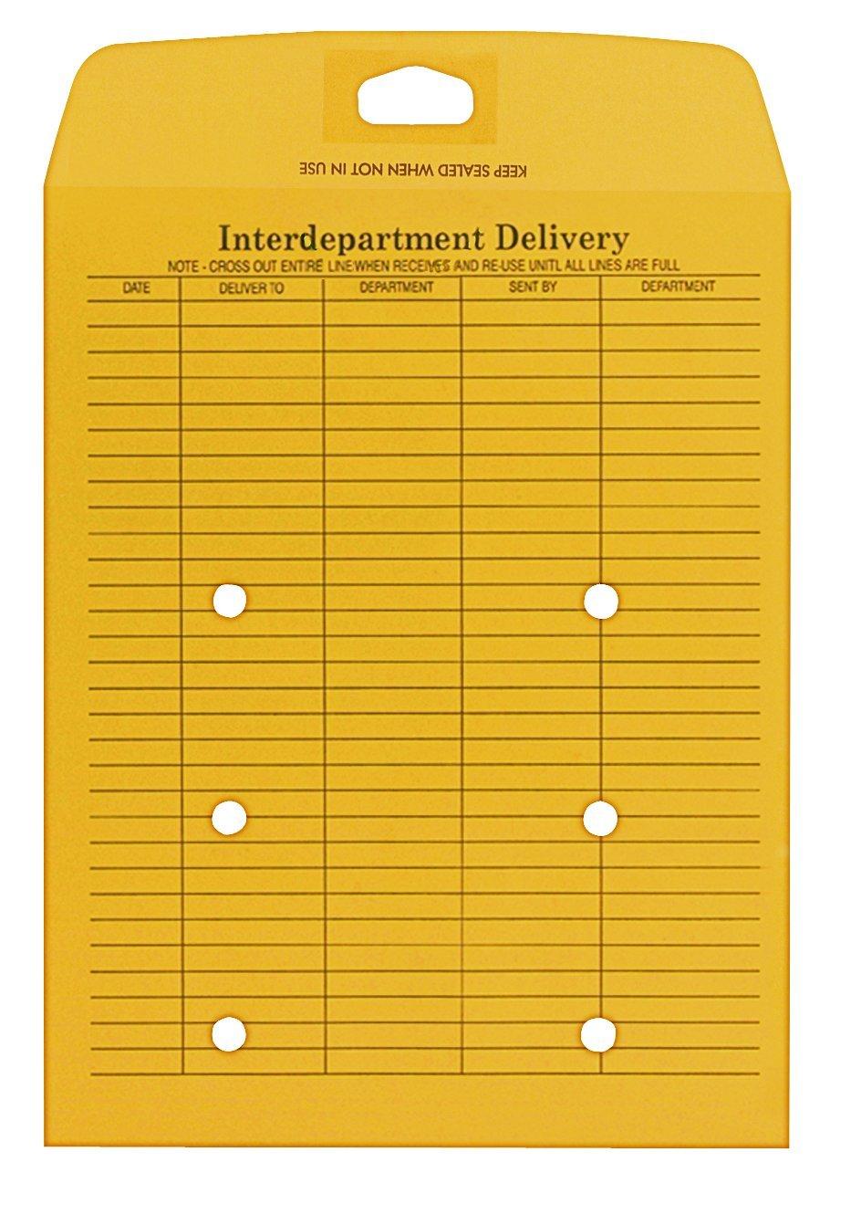Columbian CO884 10x13-Inch Interdepartment Redi-Stik Brown Kraft Envelopes, 100 Count