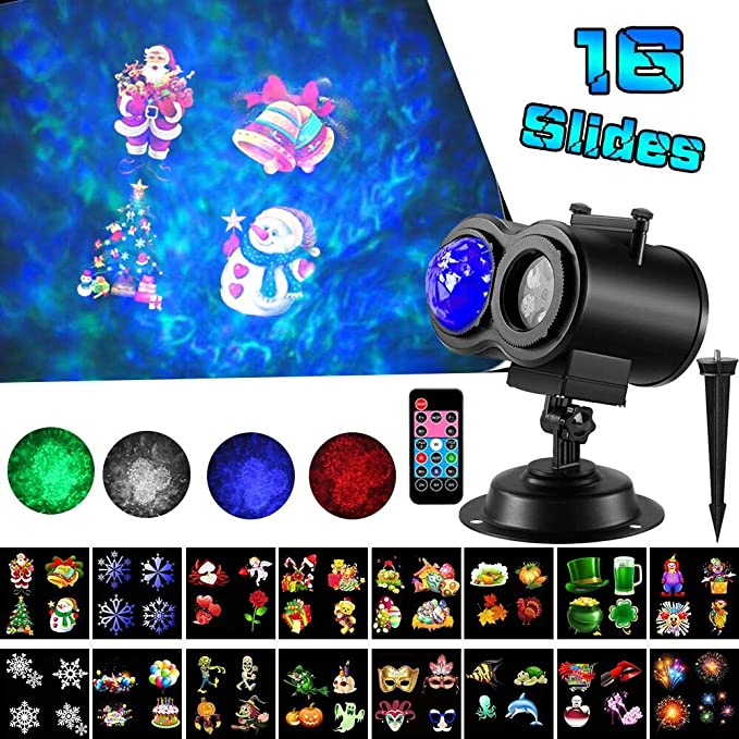 LED Christmas Projector Lights,2-in-1 Ocean Wave Projector,16 Slides 10 Colors,Remote Control Indoor Outdoor for Holiday Lights for Halloween Home ...