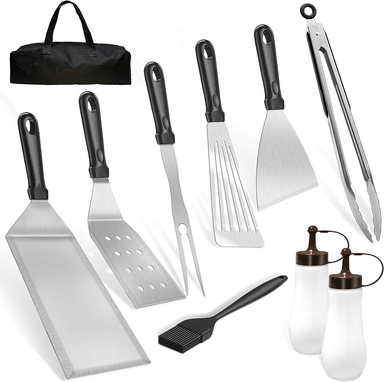 JEEMSI Utensilios para Barbacoa - 10 Piezas Kit de Accesorios para Barbacoas - Dispositivo de Barbacoa para Barbacoas Resistentes - Ideal para Cocinar con Tapa Plana