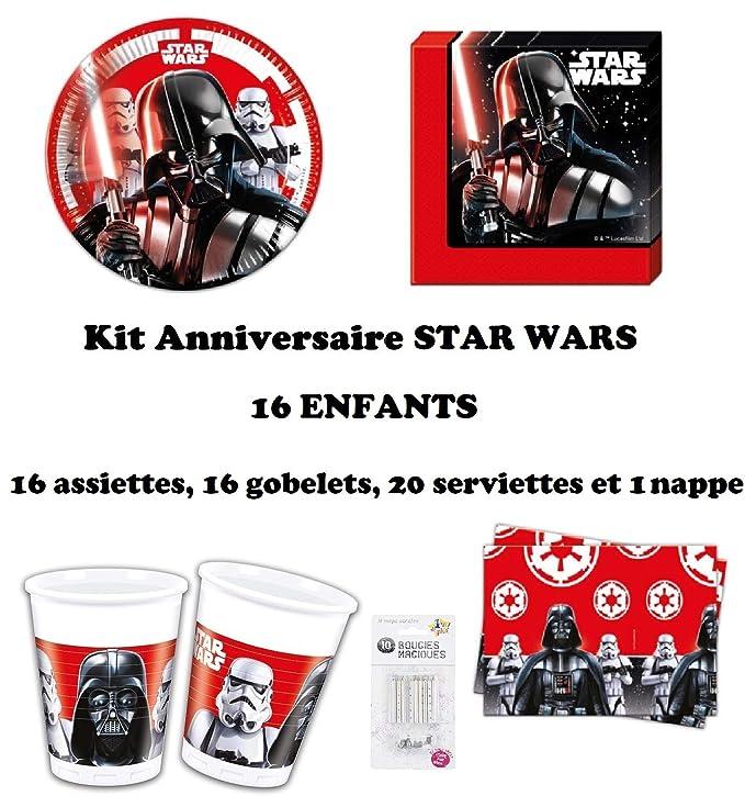 uni que Set de Cumpleaños Completa Star Wars Final Battle 16 niños (16 Platos, 16 Tazas, 20 servilletas,1 Mantel + 10 Velas mágicas ofrecidas) Fiesta ...