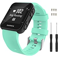 Garmin Forerunner 35 Watch Band Moko Soft Silicone Replacement Watch Band Sport Bracelet Strap with 6pcs Screws and 2pcs Screwdrivers for Garmin Forerunner 35 GPS Running Smart Watch Mint Green