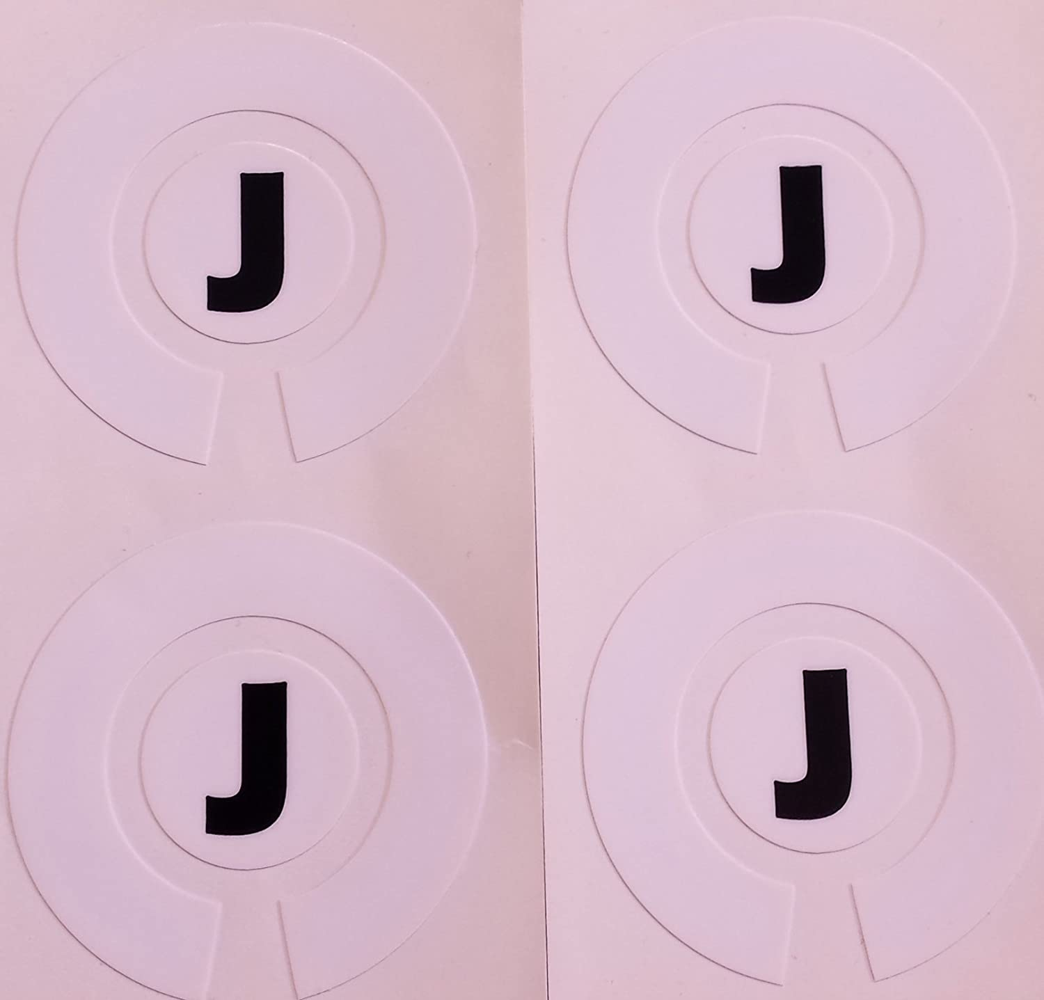 Crown Green Lawn Indoor Bowls Adhesive Lettered Coloured Marker Labels Set of 4 (White, J)