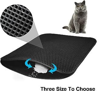Cat Litter Mat EVA Double-Layer Cat Litter Trapper Mats with Waterproof Bottom Layer,Black (M-60cm x 46cm)